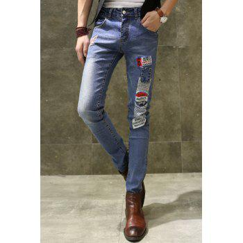 Zipper Fly Patch and Appliques Design Straight Leg Men's Jeans