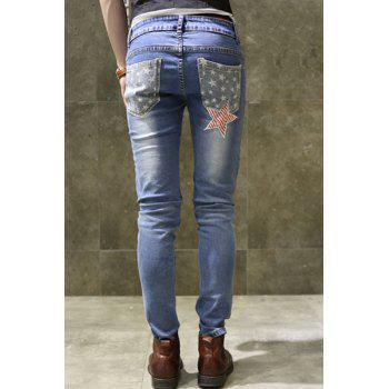 Zipper Fly Patch and Appliques Design Straight Leg Men's Jeans - BLUE 30