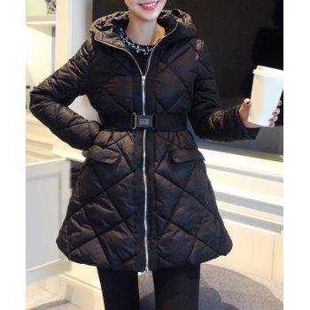 Stylish Long Sleeve Hooded With Belt Zip Up Women's Padded Coat
