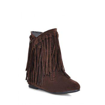 Fashion Style Suede and Fringe Design Women's Short Boots