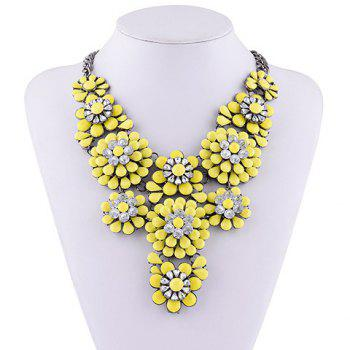 Rhinestone Water Drop Floral Layered Necklace