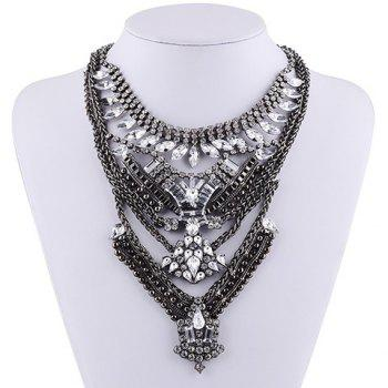 Layered Geometric Rhinestone Necklace