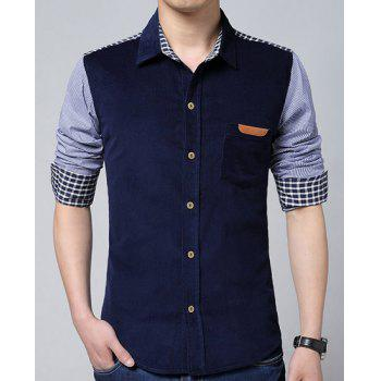 Turn-Down Collar Color Block Splicing Corduroy Plaid Long Sleeve Men's Shirt