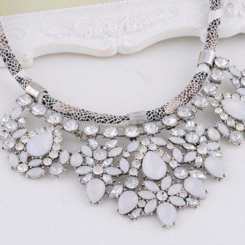 Rhinestone Water Drop Faux Leather Rope Necklace - WHITE