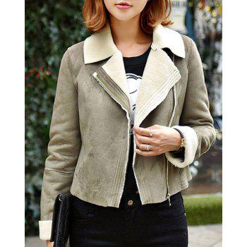 Fashionable Turn-Down Collar Long Sleeve Suede Jacket For Women