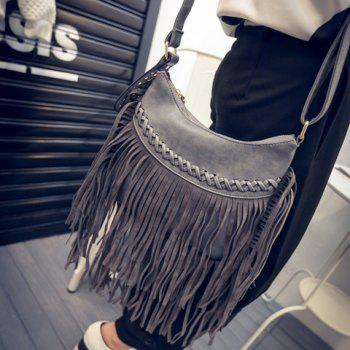 Trendy Fringe and Criss-Cross Design Crossbody Bag For Women