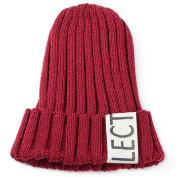 Fashiongable Solid Color Letters Label Embellished Knitted Beanie For Women