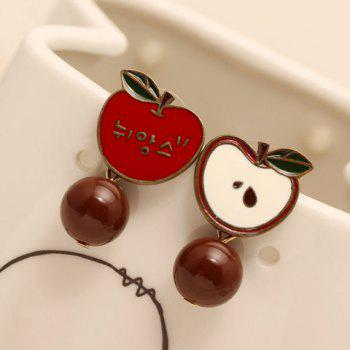 Pair of Delicate Round Bead Apple Shape Earrings For Women