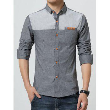 Turn-Down Collar Chambray Splicing Design Metal Detail Long Sleeve Men's Shirt