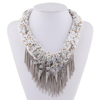 Rhinestone Layered Rivet Chain Fringed Necklace