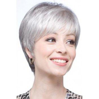 Graceful Short Silvery Gray Vogue Inclined Bang Synthetic Straight Capless Wig For Women