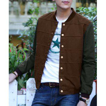 Classic Hit Color Stripes Pattern Rib Spliced Stand Collar Long Sleeves Men's Slimming Jacket