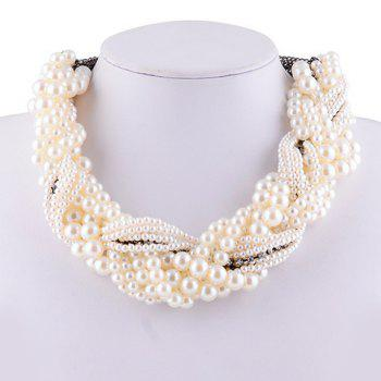 Chic Faux Pearl Rhinestone Claw Chain Necklace For Women