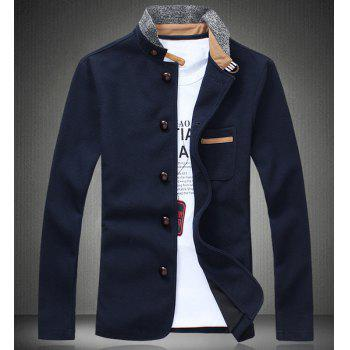 Splicing Design Stand Collar PU-Leather Edging Long Sleeve Men's Jacket