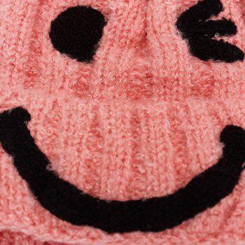 Chic Smiling Face Shape Embellished Women's Knitted Beanie -  LIGHT PINK