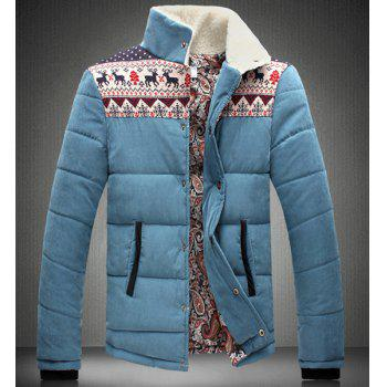 Stand Collar Christmas Print Splicing Design Long Sleeve Men's Cotton-Padded Jacket