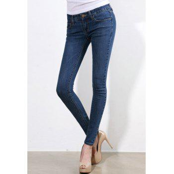 Brief Style Mid Waist Zipper Fly Slimming Solid Color Women's Jeans - DEEP BLUE DEEP BLUE