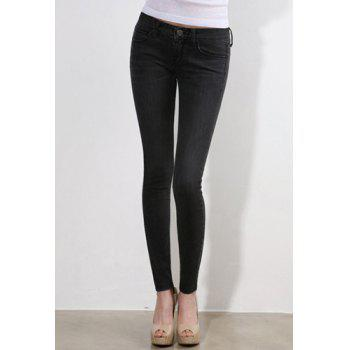 Brief Style Mid Waist Zipper Fly Slimming Solid Color Women's Jeans - BLACK BLACK