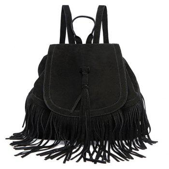 Trendy Fringe and Solid Color Design Satchel For Women