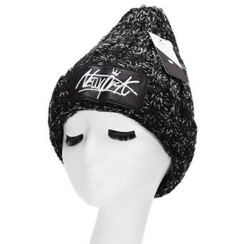 Chic Letter Embroidery PU Label Embellished Women's Thicken Knitted Beanie - BLACK BLACK