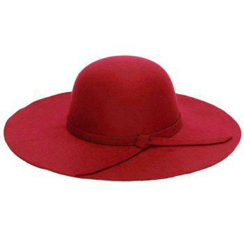 Chic Lace-Up Embellished Bright Color Women's Felt Floppy Hat - RED