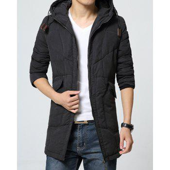 Simple Hooded Large Patch Pocket Back Slit Solid Color Fitted Long Sleeves Men's Padded Coat