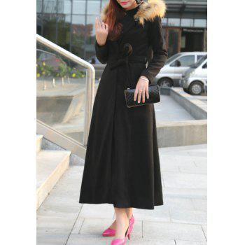 Stylish Hooded Long Sleeve Faux Fur Design Belted Women's Coat