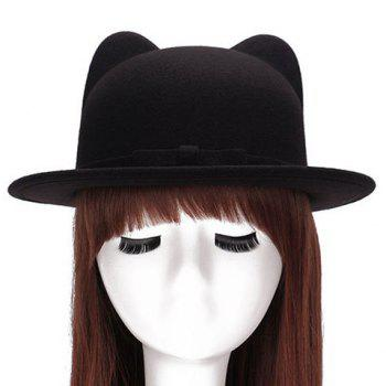 Chic Small Bow Lace-Up Embellished Women's Felt Cat Ear Hat - BLACK BLACK