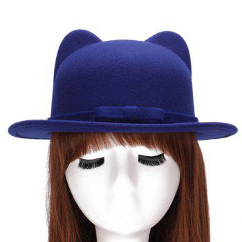 Chic Small Bow Lace-Up Embellished Women's Felt Cat Ear Hat - SAPPHIRE BLUE SAPPHIRE BLUE