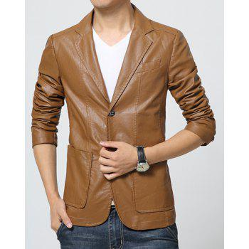 Stereo Patch Pocket Solid Color Single-Breasted Lapel Long Sleeves Slimming Men's PU Leather Blazer