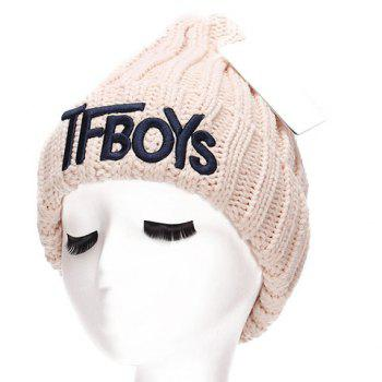 Chic Name Letters Embroidery Women's Thicken Knitted Beanie - OFF-WHITE OFF WHITE