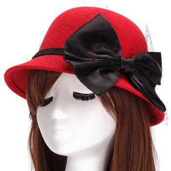 Chic Big Bow and Mesh Yarn Embellished Women's Felt Cloche Hat - RED RED