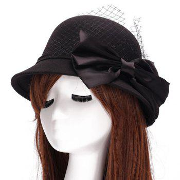 Chic Big Bow and Mesh Yarn Embellished Women's Felt Cloche Hat