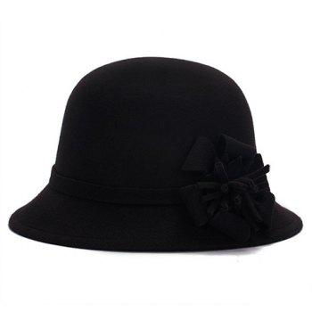 Chic Flower Shape Embellished Bright Color Women's Felt Cloche Hat