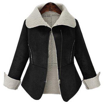 Trendy Fuzzy Turn-Down Collar Long Sleeve Coat For Women