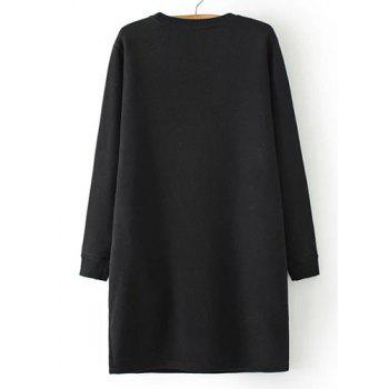 Casual Women's Jewel Neck Long Sleeve Flocking Letter Pattern Dress - ONE SIZE(FIT SIZE XS TO M) ONE SIZE(FIT SIZE XS TO M)