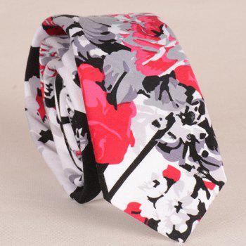 Stylish Flower and Leaf Ink Pattern 6CM Width Men's Tie - GRAY GRAY
