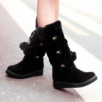 Sweet Pompons and Suede Design Snow Boots For Women - BLACK 37
