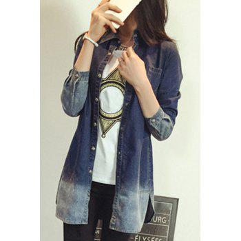 Brief Polo Collar Ombre Long Sleeve Denim Blouse For Women - S S
