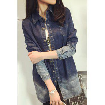 Brief Polo Collar Ombre Long Sleeve Denim Blouse For Women - BLUE BLUE