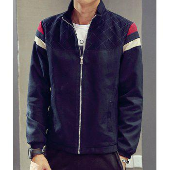 Casual Zipper Seam Pocket Long Sleeve Stand Collar Coat For Men