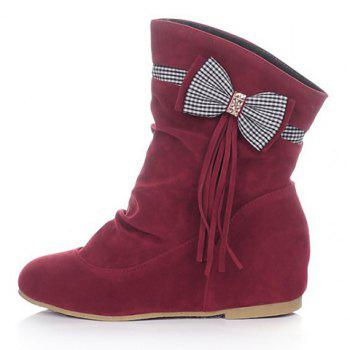 Fashionable Bowknot and Fringe Design Short Boots For Women - RED 35