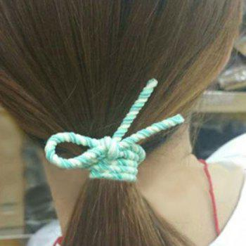 Cute Bowknot Double-Layer Elastic Hair Band For Women - GREEN GREEN