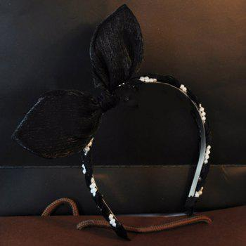 Cute Faux Pearl Rabbit Ear Shape Hairband For Women - BLACK BLACK