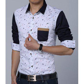 Turn-Down Collar Paint Dot Print Long Sleeve Fleece Thicken Men's Shirt