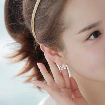 Pair of Solid Color Hollow Out Crane Shape Earrings For Women - SILVER