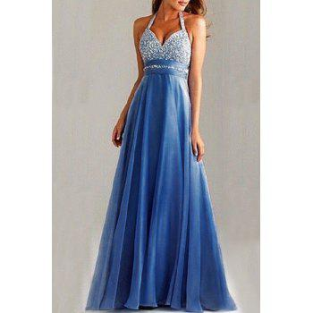 Elegant Backless Sequined Halter High Waist Pleated Prom Dress For Women