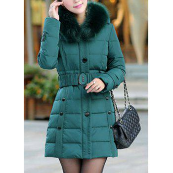 Stylish Women's Fur Collar Long Sleeve Belted Coat
