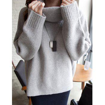 Brief Cowl Neck Long Sleeve Solid Color Sweater For Women