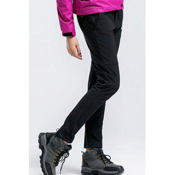 Buy Water-Repellent Fleeces Pure Color Snow Pants Women BLACK